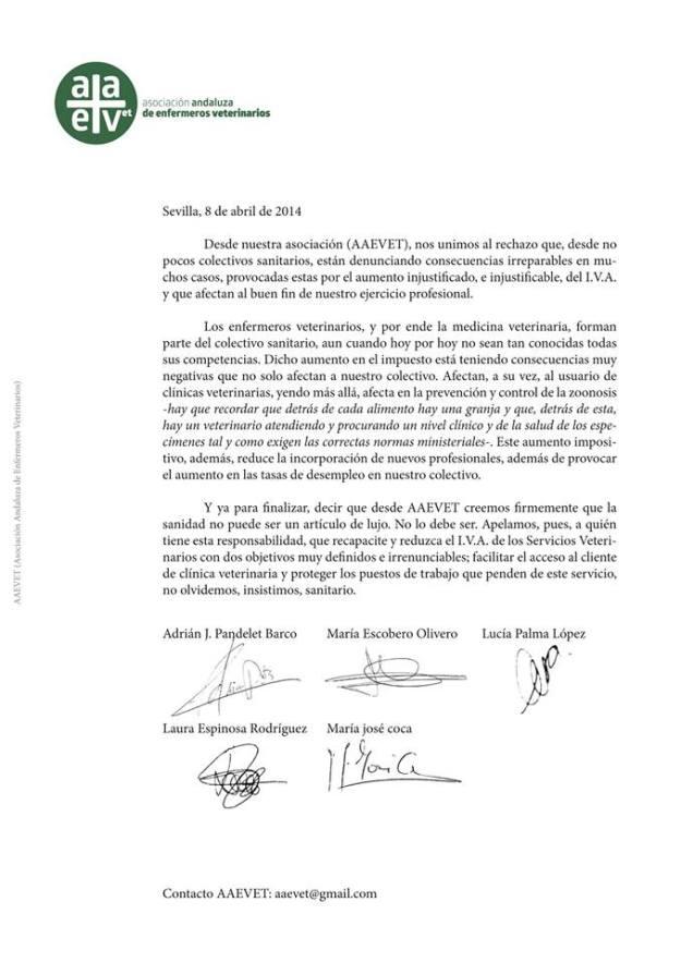 Carta contra el 21% IVA Veterinario