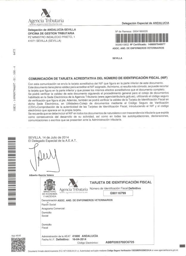 Cif definitivo Asociación Andaluza de Enfermeros Veterinarios Web